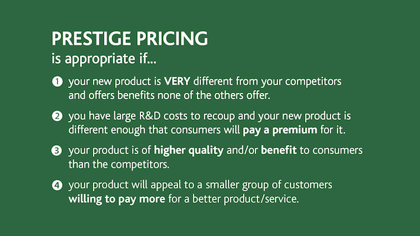 Profitable prices - Prestige Pricing